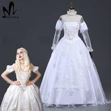 Galadriel Halloween Costume 2017 Alice Wonderland White Queen Cosplay Costume Halloween