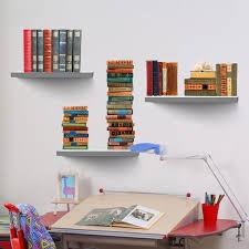3d Bookshelf 3d Bookshelf Wall Sticker Books View Poster Removable Wall Decals