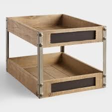 wood and metal sebastian 2 level tray world market