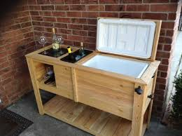 custom made wooden patio cooler with built in wine rack and wine