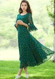 green orange polka dot drawstring flutter sleeve chiffon dress