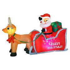 4ft x 6ft inflatable disco light up santa sleigh outdoor christmas