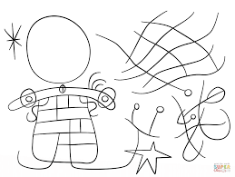 figures and dog in front of the sun by joan miro coloring page
