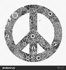 peace symbol pacifism sign black and white floral