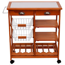 homcom wooden kitchen trolley cart drawers wood fruit vegetable
