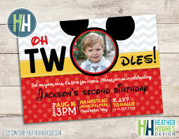 First Birthday Invitation Cards For Boys Boy Mickey Mouse Birthday Invite 2nd Birthday Oh Toodles Twodles