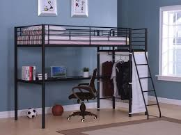 Metal Frame Loft Bed With Desk Bedroom Pretty Silver And Dark Gray Finish Metal Frame Twin Loft