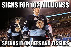 Sidney Crosby Memes - signs for 102 millions spends it on refs and tissues sidney