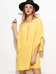 vogue tulip sleeve shift dress lt73717 women u0027s yellow casual
