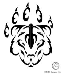 black tribal bear paw tattoo stencil by karianasan