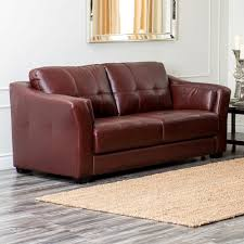 Leather Sofa Bed Abbyson Florentine Top Grain Leather Sofa Dark Burgundy Hayneedle