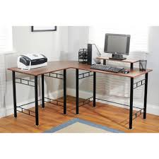 Large L Desk Simple Brown Wooden Computer Desk With Rolling Out Keyboard Tray