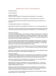 0 sample cover letter final year human resources human
