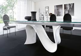 fancy shape white glossy acrylic dining table based with rectangle