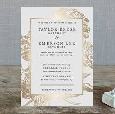 foil wedding invitations floral foil wedding invitations by christie