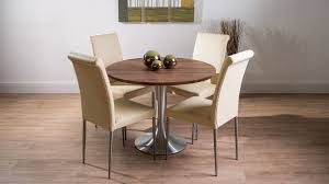 Modern Large Round Solid Walnut Dining Table And Real Leather Chairs - Walnut dining room chairs