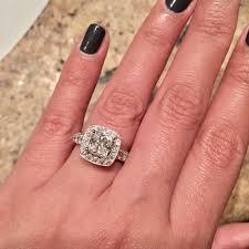 Jareds Wedding Rings by Engagement Cushion Cut Halos Weddingbee