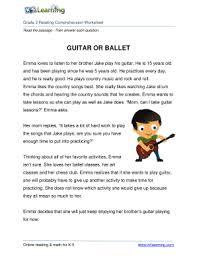 fillable online grade 2 reading comprehension worksheet guitar