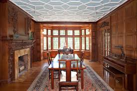 hillside dining room tracery ceiling english wooden paneling