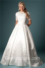 ball gown high neck satin cut out lace beaded modest wedding dress