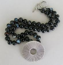 black agate necklace images Handmade black agate and thai silver necklace handmade jewelry jpg