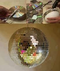 obiecte handmade 4 glob disco handmade decorat cu bucati de cd casadex