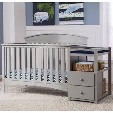 White Crib With Changing Table Table Engaging Baby Bed With Changing Table Attached Wood