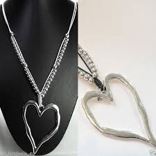 long necklace chain silver images Two large silver chunky heart pendant costume jewellery long jpg