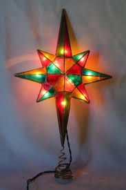 80s 90s vintage christmas tree topper ornament lighted star