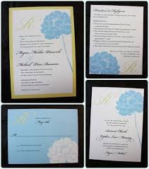 light blue peony with yellow monogram wedding invitations