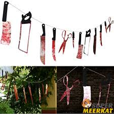 scary decorations 12pc bloody weapons garland spooky outdoor scary