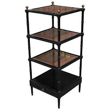 Antique Etagere Square Black Lacquer And Rattan Faux Bamboo Modern Etagere