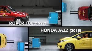 lexus vs mercedes crash test euro ncap compares 1990s rover crash test with recent honda jazz
