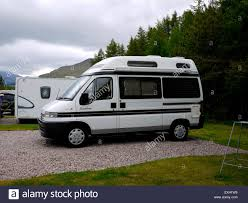 peugeot van boxer peugeot boxer capervan parked up in a campsite scotland uk stock