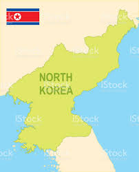 Map Of World Korea by Flat Map Of North Korea With Flag Stock Vector Art 664715736 Istock
