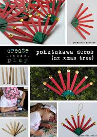 pohutukawa flower decos for xmas tree decoration popsicle sticks
