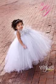 silver white flower tutu dress