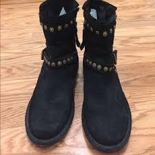 45 ugg shoes ugg fabrizia black suede studded biker boots