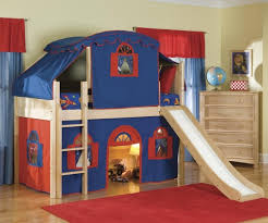 Blue And Red Boys Bedroom Beautiful Kid Bedroom Plus Blue Red Tent Oak Wood Boy Bunk Bed W