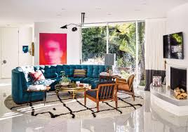in this contemporary eclectic living room a circular area rug