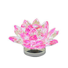 large pink lotus flower ornament with gift box crystocraft