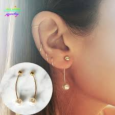 top earings top fashion gold silver copper pearl bar stud earrings for