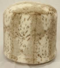 snow leopard faux fur pouf ottoman infinitely simple