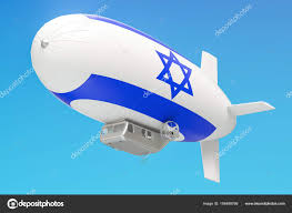 Israels Flag Airship Or Dirigible Balloon With Israeli Flag 3d Rendering