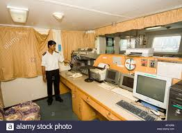 container ships communications room with instruments and machines