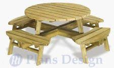 Building Plans For Picnic Table by Patio Building Plans U0026 Blueprints Ebay