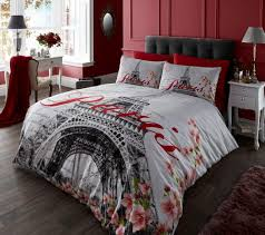 White And Red Comforter Elegant Paris Eiffel Tower Twin Full Queen Bedding Black White Red