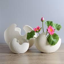 home decoration handmade modern broken egg design ceramic vase tabletop flower vase home