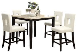 Indoor Bistro Table And 2 Chairs 5 Piece Counter Height Kitchen Set Stone Slate Table Cream