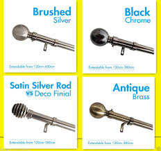 Brushed Silver Curtain Rods Curtain Rod U0026 Finial Set Extendable From 190cm 380cm 4 Colors